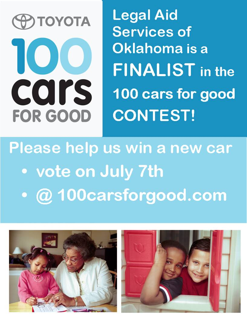 vote for Legal Aid at www.100carsforgood.com