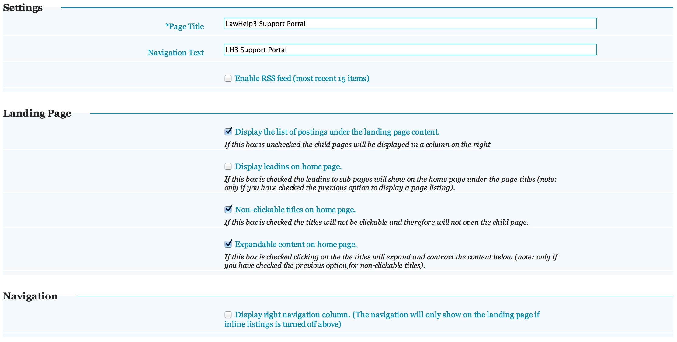Example Child Page Settings