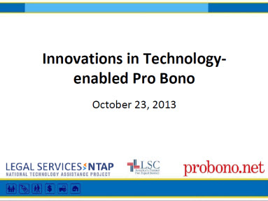 Innovations in Tech-enabled Pro Bono Webinar Intro Slide