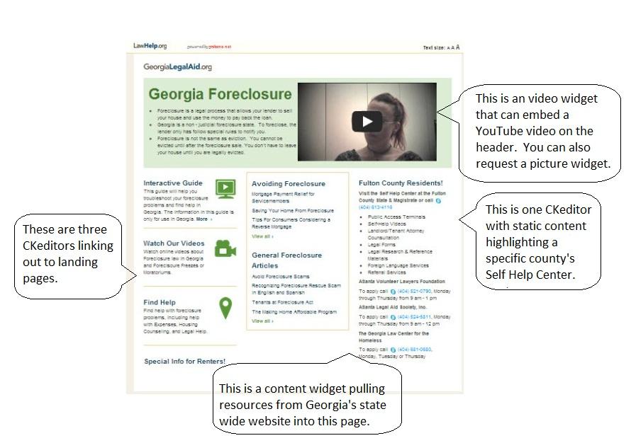 Anatomy of a Mini-Portal Page - probono.net - SWEB Support Site